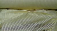 Льняная ткань в полоску для гардин и штор, яичного цвета (шир. 260 см), фото 1