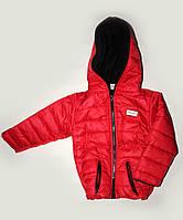 Куртка детская демисезонная Спорт флис алого цвета, 1-5 лет