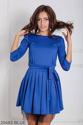Коктейльне синє плаття з фатином Ikrist (XS-XXL)