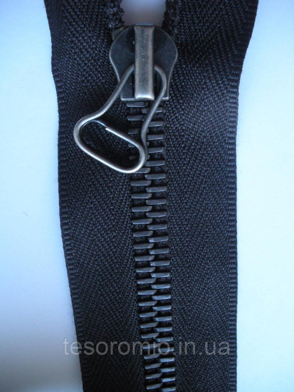 Молния металлическая riri 60 см серая тесьма черненое звено, тип 8