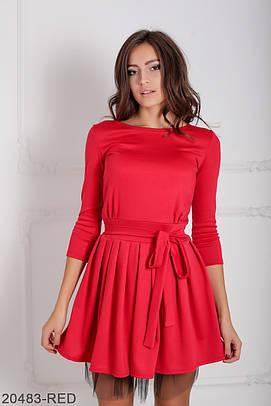 Коктейльне червоне плаття з фатином Ikrist (XS-XXL)