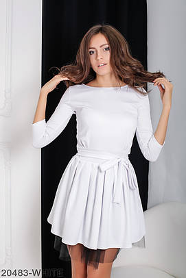 Коктейльне біле плаття з фатином Ikrist (XS-XXL)