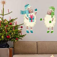 Новогодняя интерьерная наклейка Барашек и овечка (самоклеящаяся праздничная пленка на стену, окно, обои)