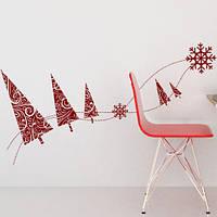 Новогодняя виниловая наклейка  Узорные елочки (декор стен, стикер на окно, снежинки, лес, елка, узоры)