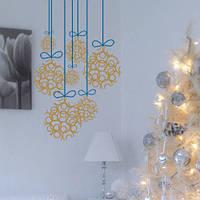 Наклейка новогодняя Шарики на ниточках