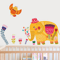Наклейка детская виниловая на стену Слон и сова (пленка яркая интерьерная для декора детской)