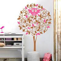 Детская наклейка на стену Дерево с совой (виниловая пленка самоклеющаяся для интерьера)