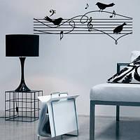 Наклейка декоративная на стену Птички-нотки (виниловая пленка самоклеющаяся, птицы, музыка, ноты)