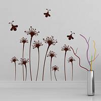 Виниловая декоративная наклейка Пчелиный танец (интерьерная пленка, цветы, пчелы, растения)