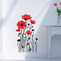 Виниловая наклейка на стену Изящные маки (интерьерная пленка на обои, полевые цветы в декоре)