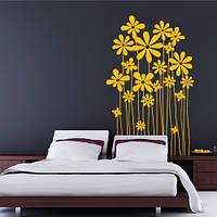 Виниловая декоративная наклейка Полевые ромашки (интерьерная пленка самоклейка, цветы, растения в декоре)
