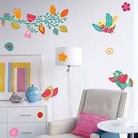 Интерьерная наклейка на обои Расписные птицы (яркий виниловый стикер на стену, птички, цветы, листья)