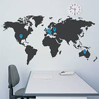 Декоративная наклейка на обои Карта мира (виниловая пленка самоклеющаяся)