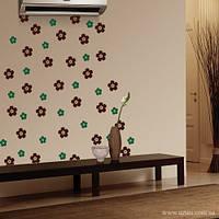 Виниловая интерьерная наклейка Цветочки (набор, пленка самоклеющаяся на стену, обои, мебель)