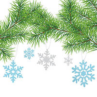 Новогодняя интерьерная наклейка Снежинки 3Д