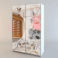 Виниловая матирующая наклейка Мотивы Японии (пленка для зеркала самоклеющаяся, завитки, листья, бабочки)