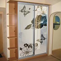 Наклейка на стекло шкафа купе Нежность (матовая пленка с рисунком, бабочки, цветы)