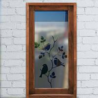 Наклейка виниловая матовая на окно Три птицы (самоклеящеяся пленка на стекло, защита от солнца)