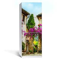 Наклейка интерьерная на холодильник Прованс 02 (цветы, пейзаж декор на холодильник, пленка виниловая)