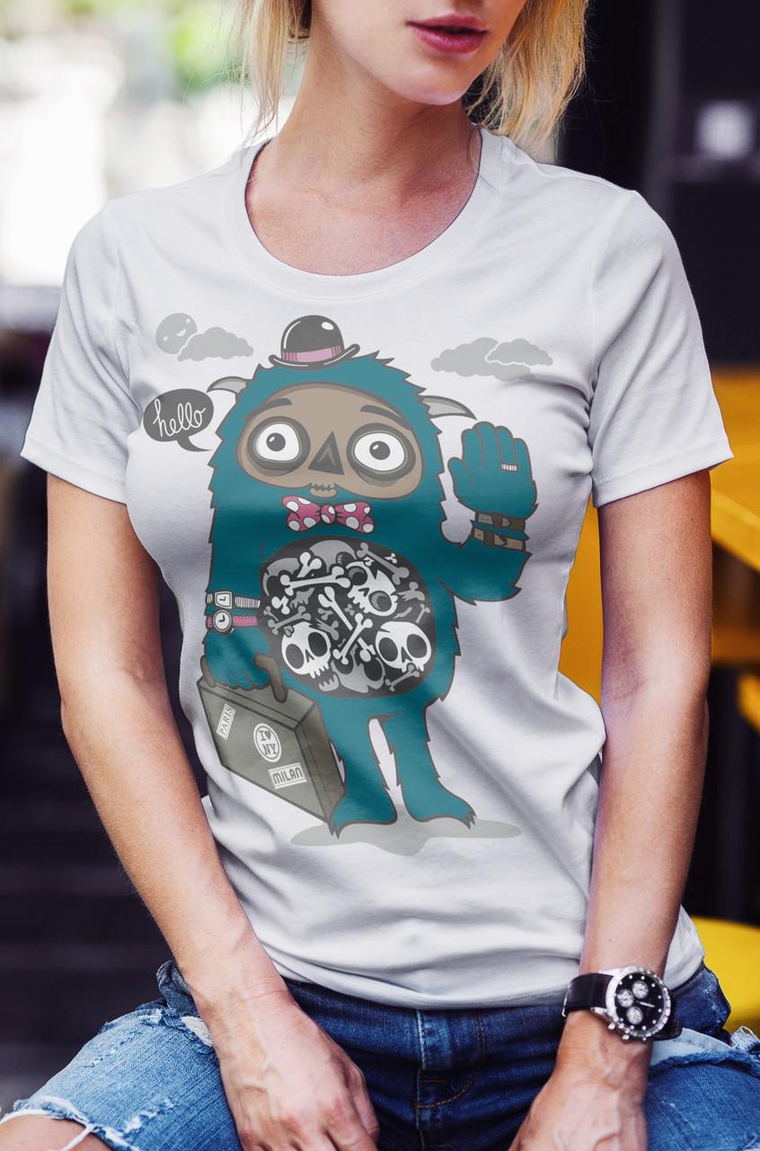 """Женская футболка """"Монстр в шляпе"""""""