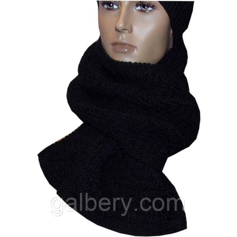Вязаный шарф - петля черного цвета, объемной ручной вязки