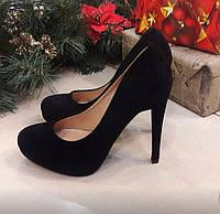 Женские черные туфли на шпильке из эко замши