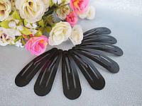 Заколка для волос (тик-так), металлическая, черная, 6 см.