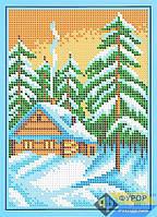 Схема для полной вышивки бисером на габардине. Арт. ДБп5-049 Домик в лесу