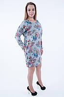 Теплое цветочное платье    (52-58) 555 серого цвета , фото 1