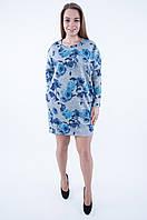 Теплое платье  БОЛЬШИХ РАЗМЕРОВ  (52-58) 555 серого цвета в розу синюю, фото 1