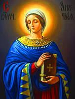 Икона на золоте 585пр Св.Анастасии, под старину, именная икона !