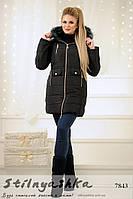 Теплое черное зимнее пальто на синтепоне