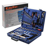 """Набор инструментов King Roy 072MDA (72 ед) 1/2-1/4"""" (10-32/4- 13мм+свечн+2удл +2трещ24Т+2кард+ биты+инструм)"""