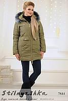 Теплое зимнее пальто на синтепоне хаки