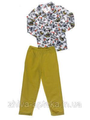 Пижама для мальчика Niso Baby Машинки оливковая (рост 128см)