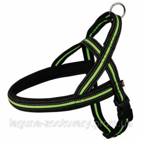 """TX-20662 шлея норвежская """"Фьюжн"""" (нейлон) для собак 53–66см/35мм, чёрный/зелёный"""