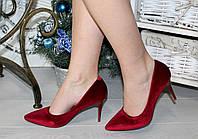 Женсике туфли лодочки классика, каблук 8,5 см, красные / красивые туфли женские, велюровые, модные