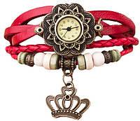 """Женские часы с кожаным ремешком под старину с брелком """"корона"""", женские кожаные часы"""