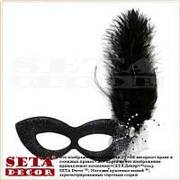 Черная маска венецианская Бальная с пером