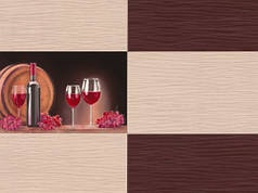 Обои на стену, винил, коричнивые, B49.4 Брют 5548-02, вино, супер-мойка, пара 5549-02, 0,53*10м