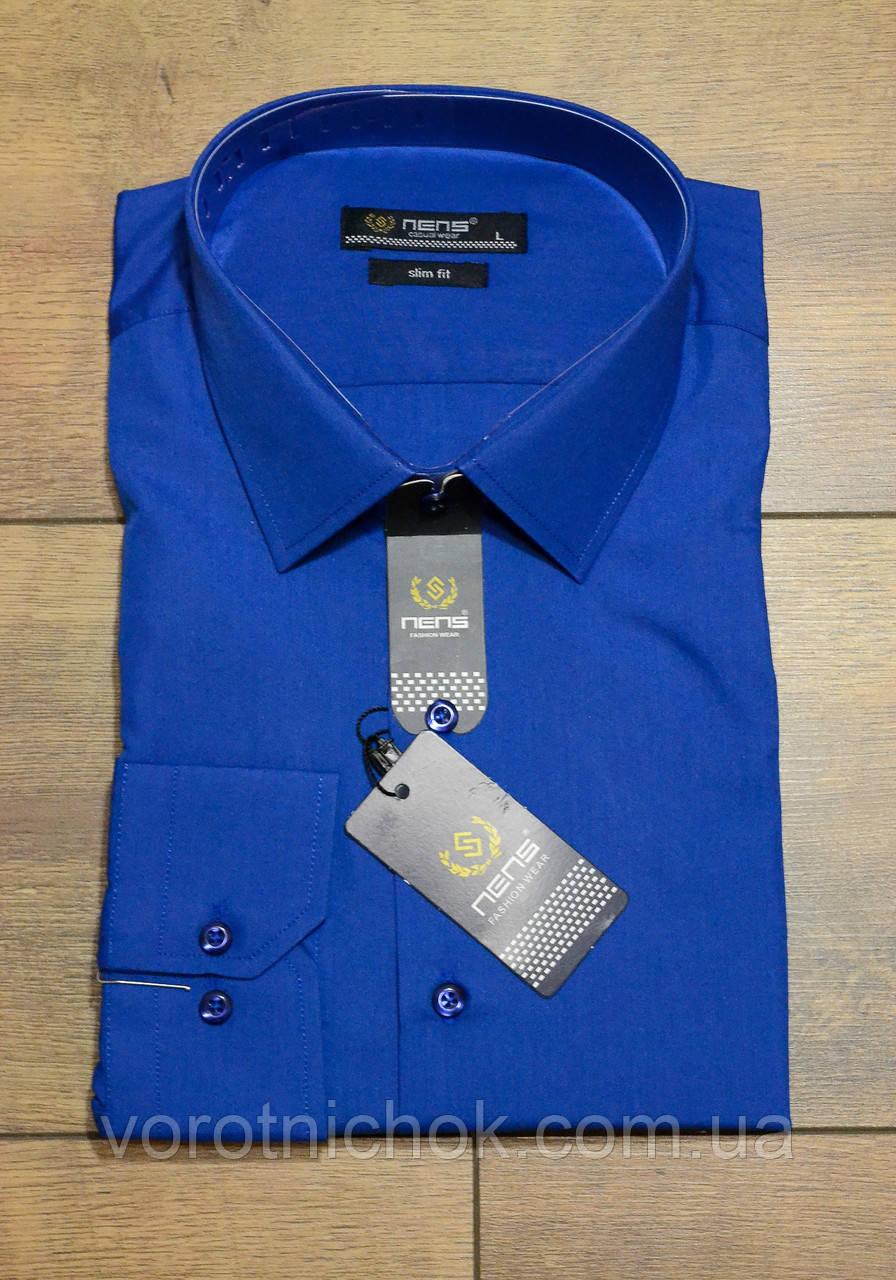Мужская рубашка- приталенная- однотонная