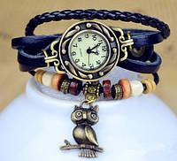 """Женские часы с кожаным ремешком под старину с брелком """"сова"""", Белые женские кожаные часы"""