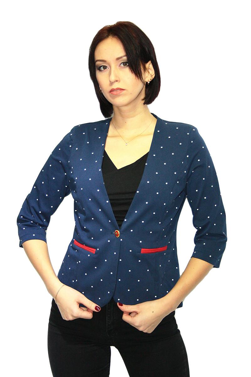 Пиджак женский темно-синего цвета в мелкий горошек /  jacket pj1
