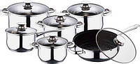 Набор посуды 12 пр, сковорода с мраморным покрытием Wellberg WB 1106