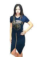 Платье-туника с капюшоном в спортивном стиле, темно-синее, фото 1