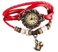 Женские часы с кожзам ремешком под старину с брелком котиком, купить часы браслет женские
