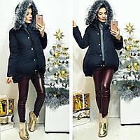 Женская зимняя куртка с мехом на капюшоне