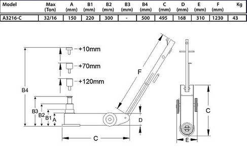 Домкрат пневмогидравлический 32т,Compac, A3216-C, фото 2