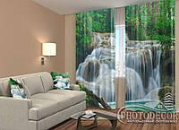 """ФотоШторы """"Водопад в лесу"""" 2,5м*2,6м (2 полотна по 1,30м), тесьма"""