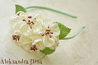 "Ободок с белыми цветами ""Жасмин"" №11"